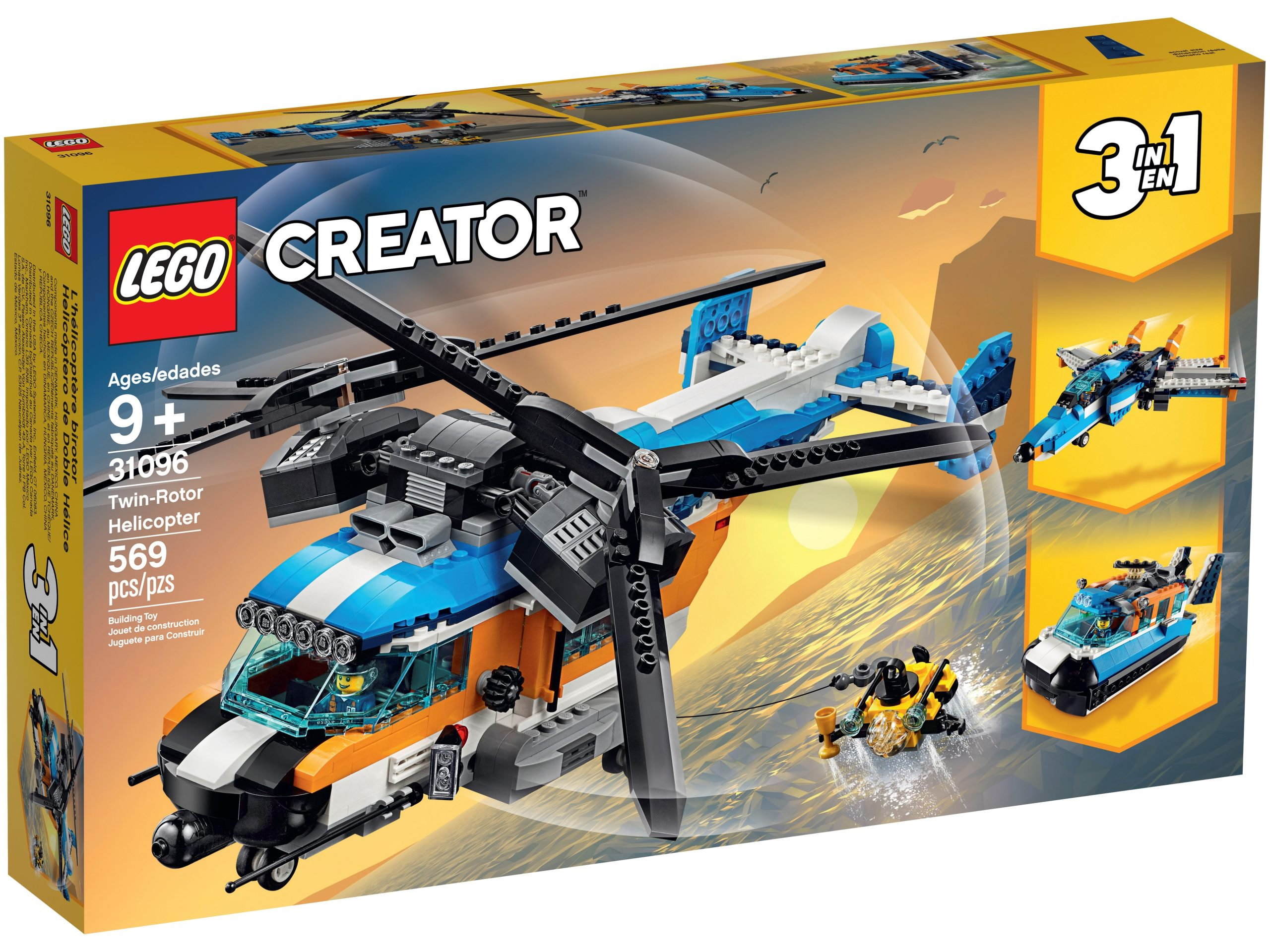 lego 31096 twin rotor helicopter scaled