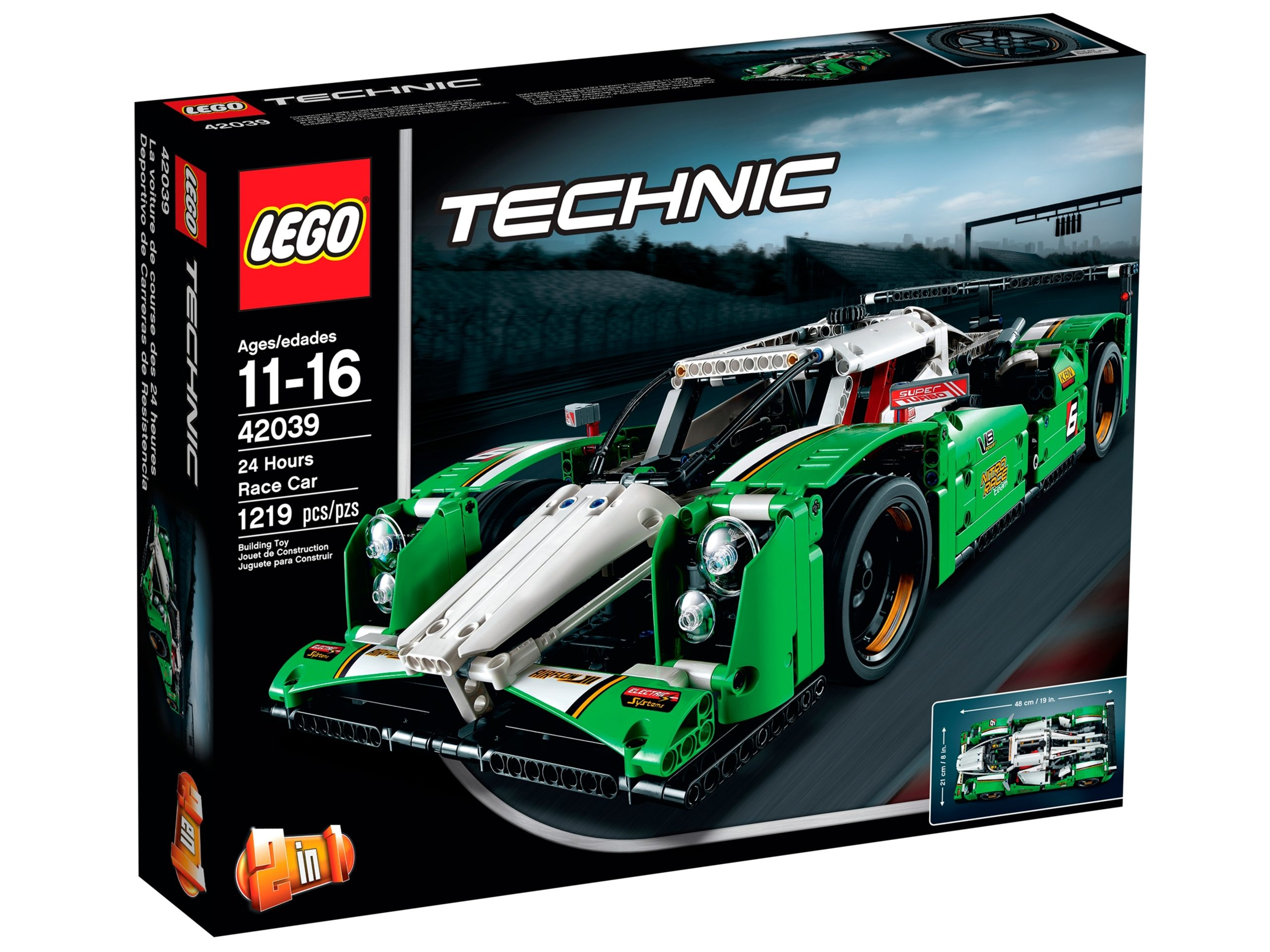 lego 42039 24 hours race car scaled