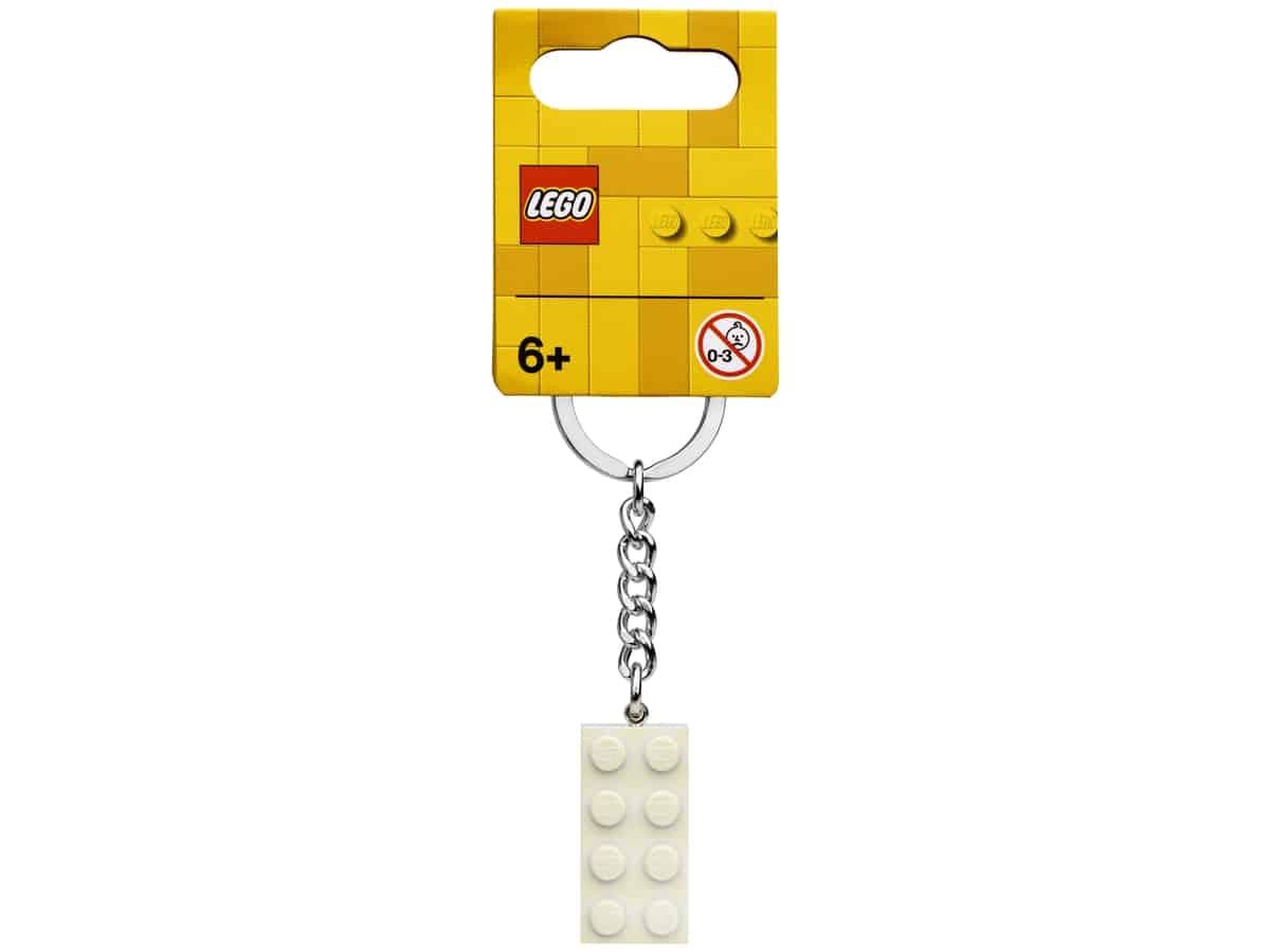 lego 854084 2x4 white metallic key chain